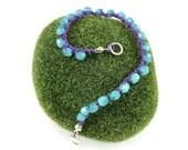 Crochet Bracelet - Blue Opal on Amethyst