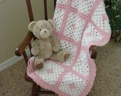 Hand crocheted baby afghan - pink and white granny squares - MADE TO ORDER