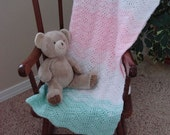 Hand crocheted baby afghan - pink, white and green - READY TO SHIP