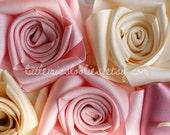 Ribbon Rose flower Alligator clips & brooch pins SET OF 3