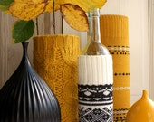 MEDIUM Upcycled Eco knit fairisle, cable vase/bottle cozy, Autumn Winter, Ochre Mustard Black White
