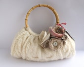 Customisable Soft Natural Cable Knit Winter Spring Purse with your choice of removable flower clips. Cream Pink Plaid