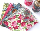 6xA5 Handmade self adhesive fabric sheets, upcycled remnant & salvaged vintage fabrics, vintage floral brights