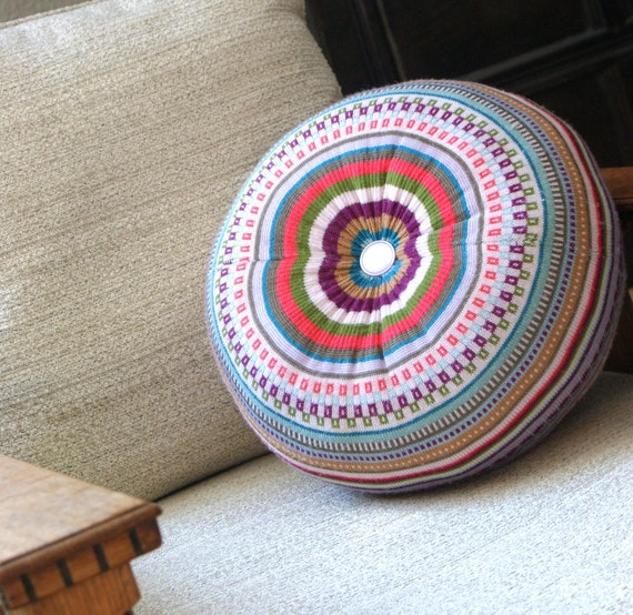 Eco Floor Pillows : Items similar to MEDIUM Upcycled Eco knit fairisle, cable floor cushion pouf hassock, Fair Isle ...