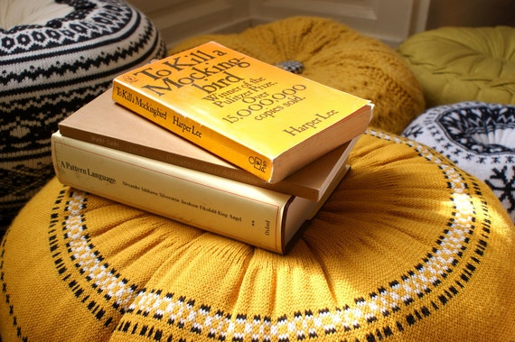 LARGE Upcycled Eco knit fairisle, cable floor cushion pouf hassock, Fair Isle ochre mustard yellow gold black and white