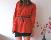 SALE - Chic Blouse, Boyfriend Button Down Shirt Dress in rust red/coral/pink UNISEX