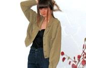 SALE - Cropped Jacket 80s beige, tan, taupe, khaki, Shirt, grunge S XS M 1980s