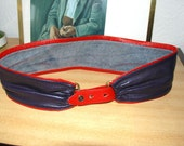 Cute Leather Belt, navy and red, marine, sailor style, genuine leather