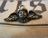 Winged Angel Charm in Silver Color 10 Pieces