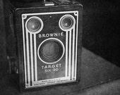 "Vintage Camera: Brownie Target Six-20 Kodak Camera - Fine Art Photography 8x12"" Matte Print in Black and White, Antiques & Flea Market Find"