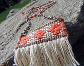 Fringe trim necklace - ivory vintage woven textile necklace, southwestern style fabric necklace. long copper statement necklace