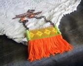 Fringe trim necklace - mandarin orange fabric, vintage textile necklace, fringe jewelry, copper, long fiber necklace