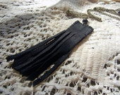 Suede fringe necklace - recycled suede handmade pendant on brass chain, raven black jewelry