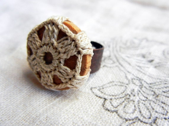 Lace wrapped rings - vintage wood & recycled crochet doily, wooden cocktail statement ring