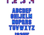 "College Outline Machine Embroidery Font - Sizes 1"",2"",3"",4"" - BUY 2 get 1 FREE"