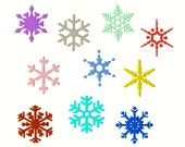 "Snowflakes - Machine Embroidery - 10 different designs in 8 sizes from 1.5"" to 5"""