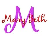 "Mary Beth Machine Embroidery Font - Sizes 1"",2"",3"",4"" BUY 2 get 1 FREE"