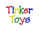 "Tinker Toys Machine Embroidery Font - Sizes 1"",2"",3"", 4"" BUY 2 get 1 FREE"
