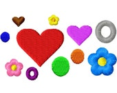 Add-Ons - Dots, Hearts, Bubbles and Flowers - Machine Embroidery - Different sizes in every design