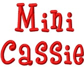 Mini Cassie Machine Embroidery Font - Sizes .5in. (half inch) BUY 2 get 1 FREE - Mini Fonts
