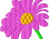 Daisy Flower - 2 - Tilted - Machine Embroidery - 10 sizes