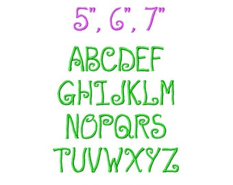 "JUMBO Silly Lilli Machine Embroidery Font - Sizes 5"",6"",7"" - BUY 2 get 1 FREE"