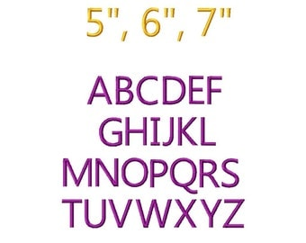 "JUMBO Simple Block  Machine Embroidery Font - Sizes 5"",6"",7"" BUY 2 get 1 FREE"
