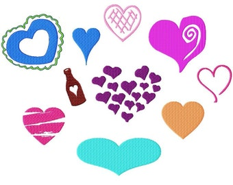 "Heart Designs Machine Embroidery - 10 different designs in many sizes from 1"" to 6"""