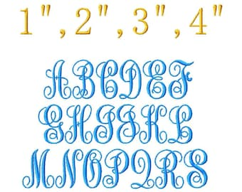 "ABC Script Machine Embroidery Font - Sizes 1"",2"",3"",4"" BUY 2 get 1 FREE"
