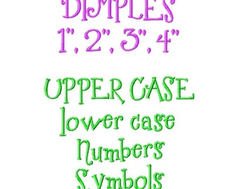 "Dimples Machine Embroidery Font - Sizes 1"",2"",3"",4"" BUY 2 get 1 FREE"