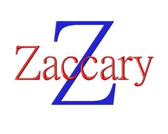 "JUMBO Zaccary - Machine Embroidery Font - Sizes 5"",6"",7"" - BUY 2 get 1 FREE"