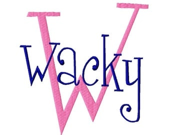"Wacky Machine Embroidery Font - Sizes 1"",2"",3"",4"" BUY 2 get 1 FREE"