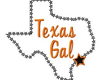 Texas Gal - Texas - Machine Embroidery Design - 7 Sizes - Outline and Applique