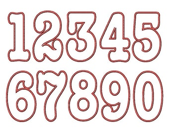 "Cassidy Applique Numbers - Machine Embroidery Design - 4x4 Hoop, 4"",5"",6"",7"""