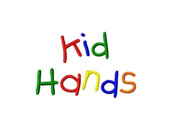 "Kid Hands Machine Embroidery Font - Sizes 1"",2"",3"",4"" BUY 2 get 1 FREE"