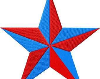 "Rustic Star - Machine Embroidery - 13 Sizes from 1"" to 7"""
