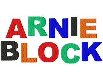 "Arnie Block Machine Embroidery Font - Sizes 1"",2"",3"",4"" BUY 2 get 1 FREE"