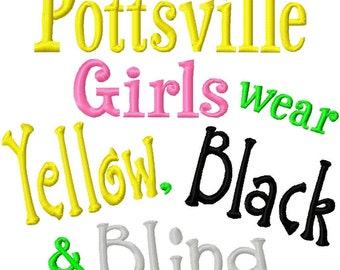 Pottsville Girls wear Yellow, Black and Bling - Machine Embroidery Design -  8 Sizes