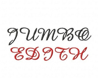 """JUMBO Edith Script Machine Embroidery Font - 4 Sizes - 5"""",6"""",7"""" and 5x7 Hoop Choice - Buy 2 get 1 FREE"""