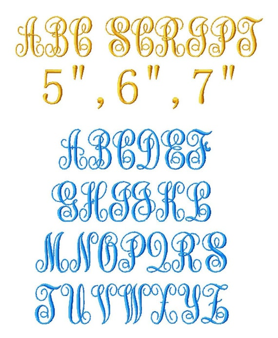 """JUMBO ABC Script Machine Embroidery Font - 4 Sizes - 5"""",6"""",7"""" and 5x7 Hoop Choice - Buy 2 get 1 FREE"""
