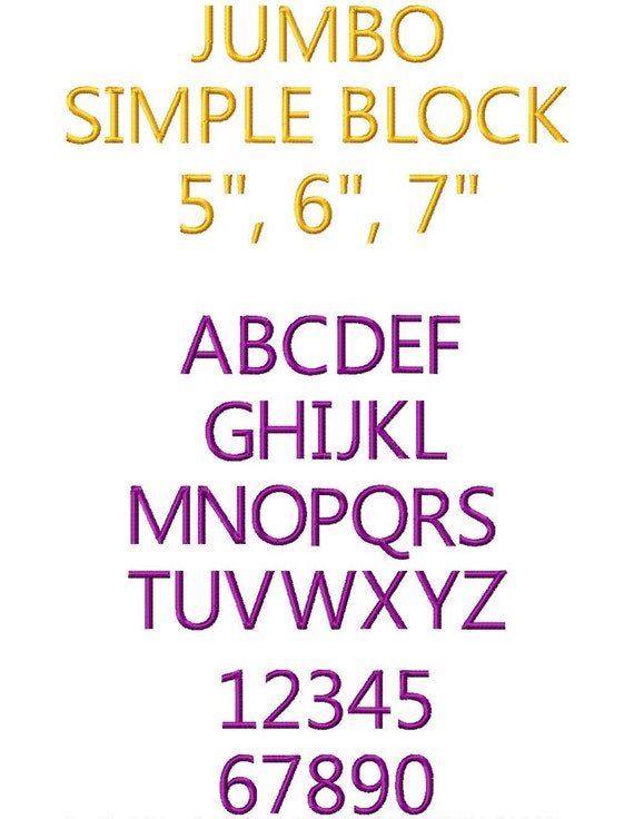 JUMBO Simple Block Machine Embroidery Font Sizes