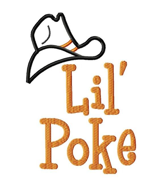 Lil Poke Cowboy Hat Applique - Machine Embroidery Design - 5 Sizes