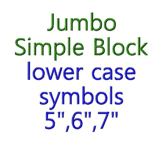 "JUMBO Simple Block - Lower Case Letters - Machine Embroidery Font - Sizes 5"",6"",7"" - BUY 2 get 1 FREE"