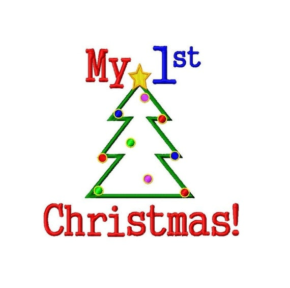 My 1st Christmas - Christmas Tree Applique - Machine Embroidery Design - 6 Sizes