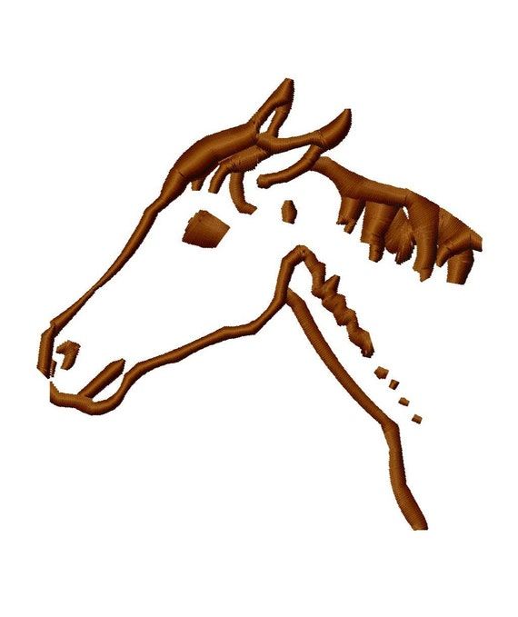 Horse Head Outline Machine Embroidery Design 13 Sizes