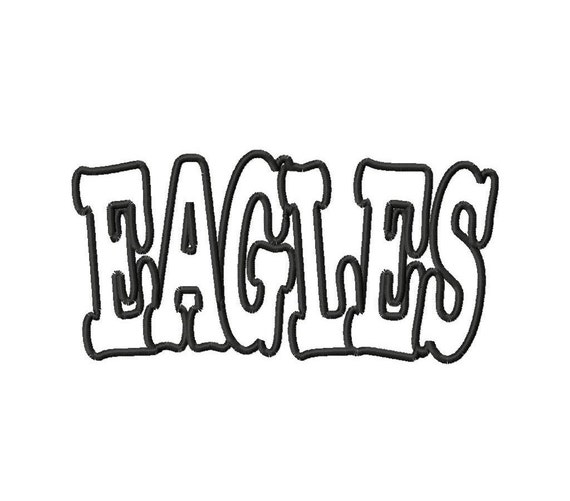EAGLES - 1 FABRIC - 1 TRIM - Applique - Machine Embroidery Design - 28 sizes - 2 types