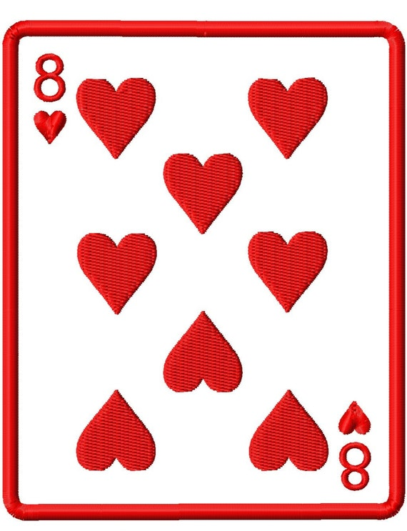 Playing Cards - Hearts - Applique with Numbers 0-9 - Machine Embroidery Design - 8 Sizes