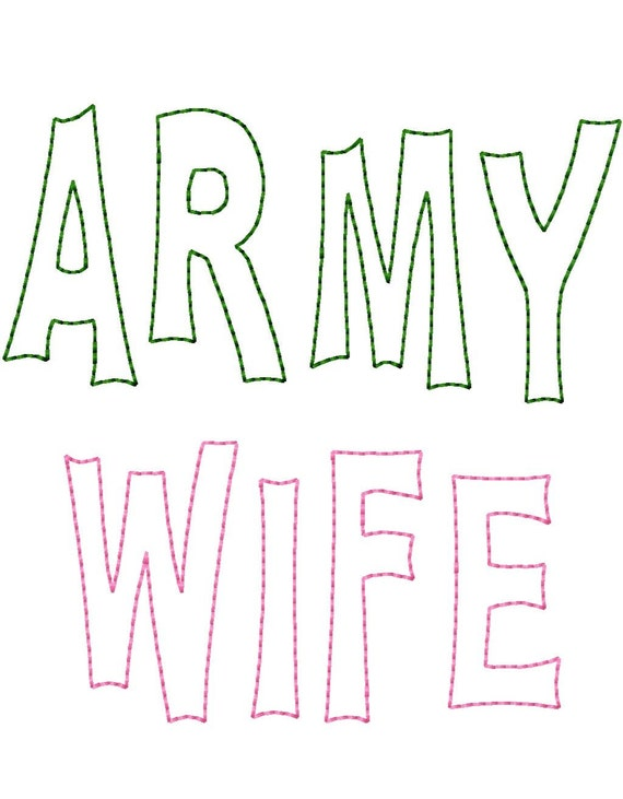 ARMY WIFE - Reverse Applique - Machine Embroidery Design - 8 Sizes