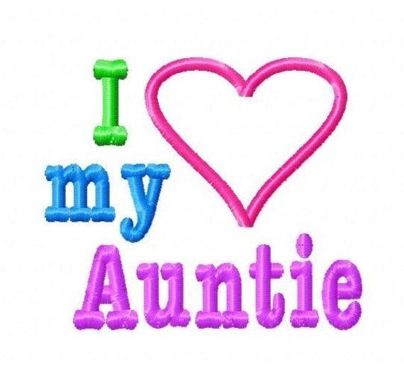 I Love My Auntie Heart Applique Machine By Lillipadgifts