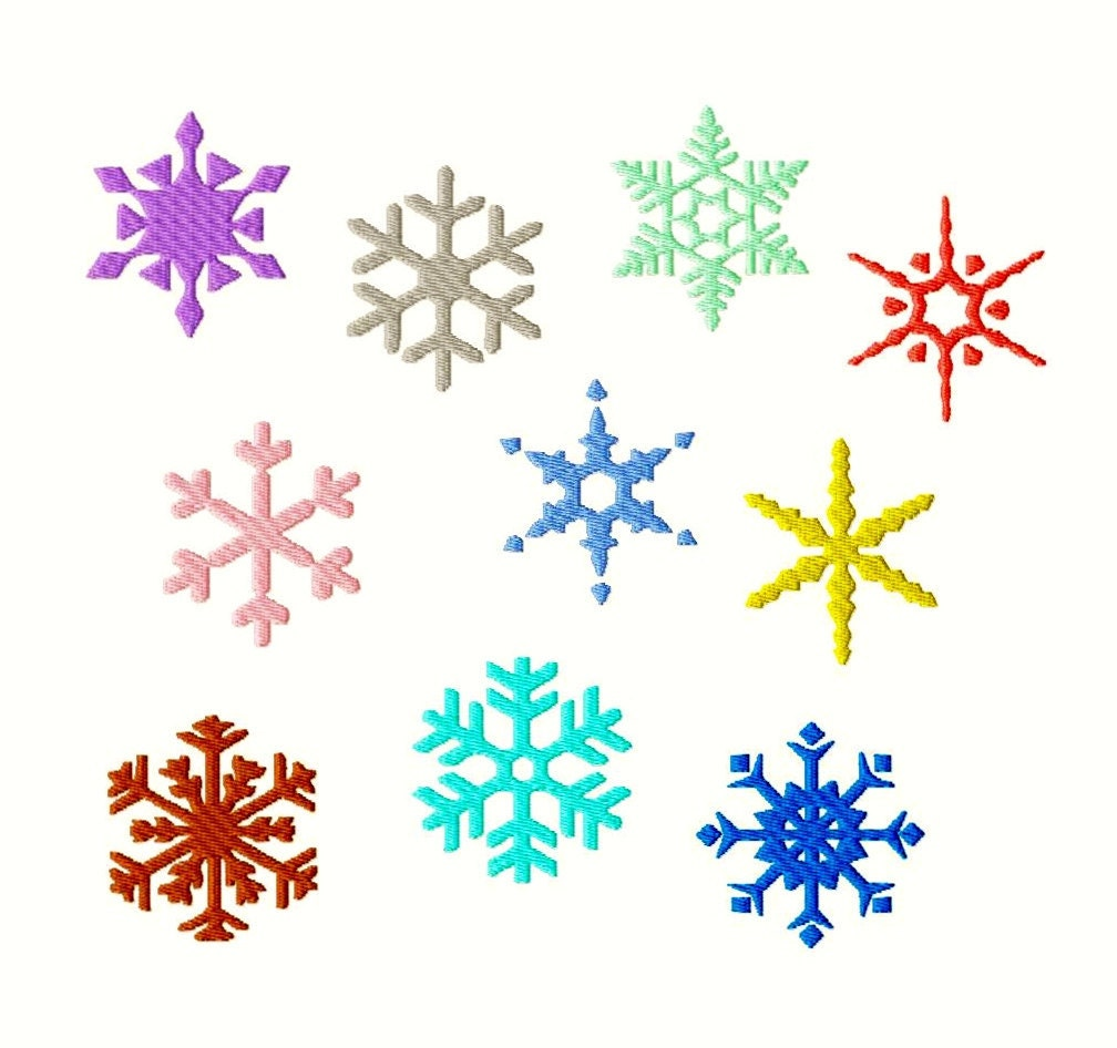 Snowflakes machine embroidery 10 different designs in 8 for Different design